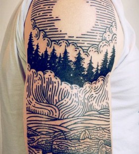 Gorgeous shoulder lines tattoo