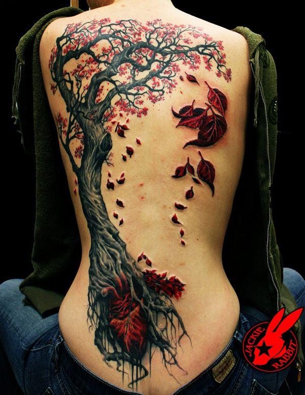 Gorgeous tree autumn colorful tattoo
