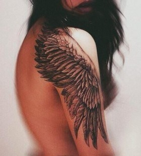 Gorgeous women's angel tattoo
