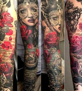 Gorgeous women's mask's and watches with roses tattoo