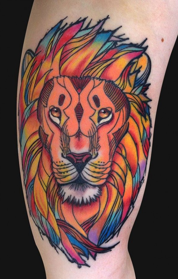 Great colors lion tattoo