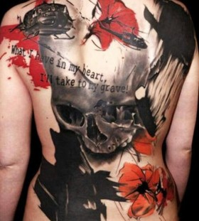 Great looking plane watercolor skull tattoo