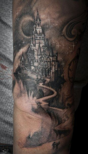 Great moon and black castle tattoo