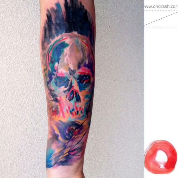 Great painted watercolor skull tattoo