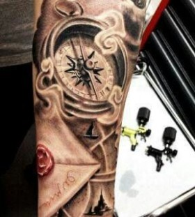 Great style compass tattoo