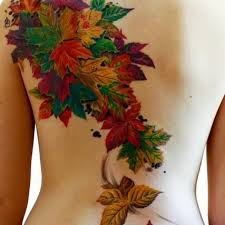 Green and yellow autumn colorful tattoo