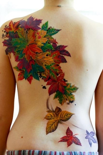 Green and yellow autumn tattoos