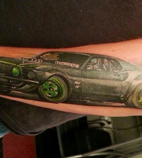 Green ford car tattoo
