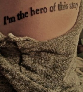 Hero black quote tattoo