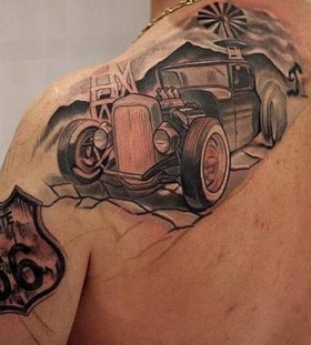Hot rod black car tattoo
