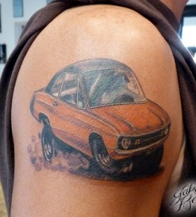 Hot rod car tattoo