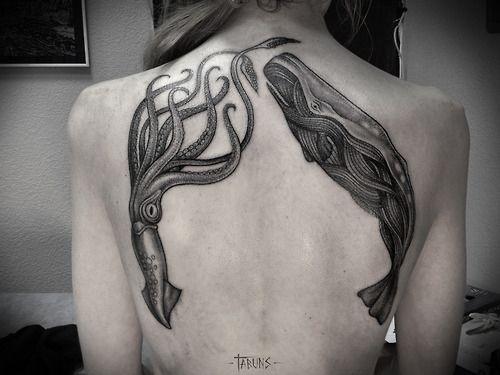 Huge back whale tattoo
