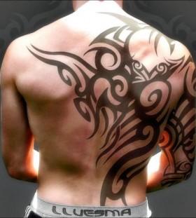 Huge black men's back tattoo