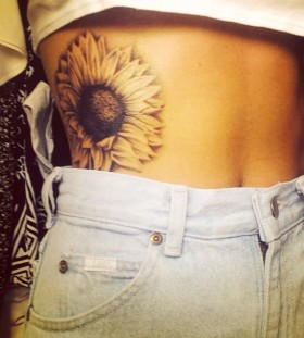 Huge lovely sunflower tattoo