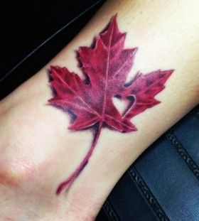 Incredible leaf's heart tattoo