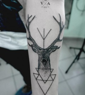 Innovative black geometric style tattoo