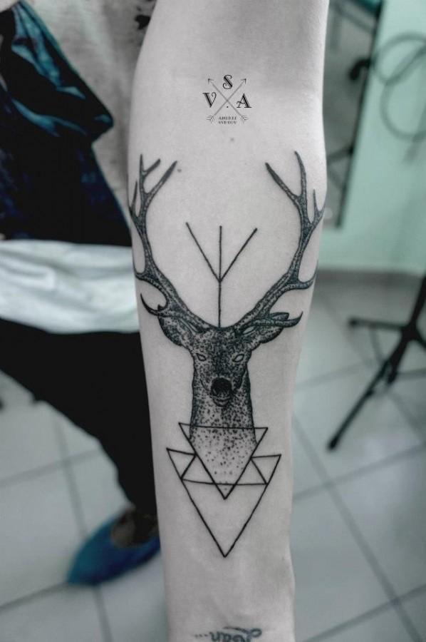 Innovative black geometric style tattoo