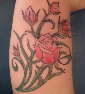 Inspiring looking pink rose tattoo
