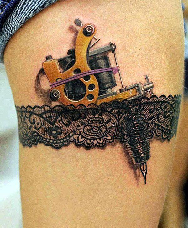 Lace and black leg's tattoo