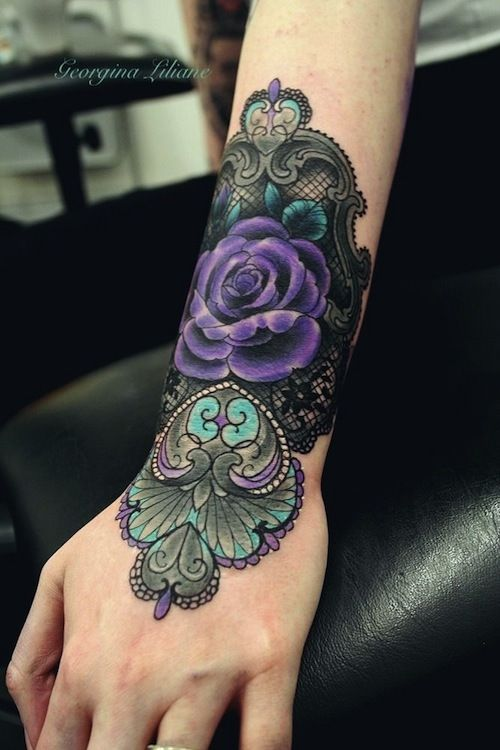 Lace and purple flower tattoo