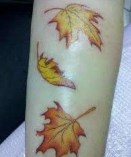 Leaf yellow autumn colorful tattoo