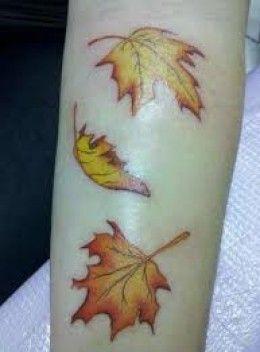 Leaf yellow autumn colorful tattoo