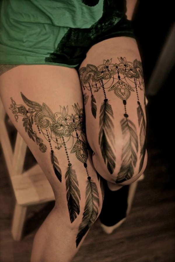 Legs lace tattoo by Dodie