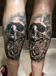 Leg's simple lovely skull tattoo