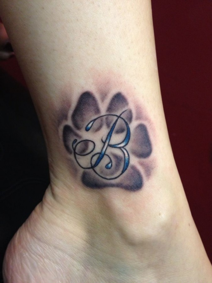 Letter B dog tattoo