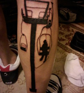 Lift men's leg skiing tattoo