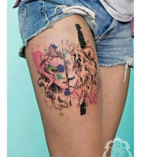 Lion and women face tattoo by Candelaria Carballo