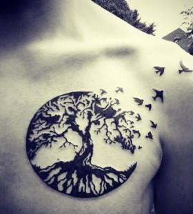 Looking great black tree tattoo
