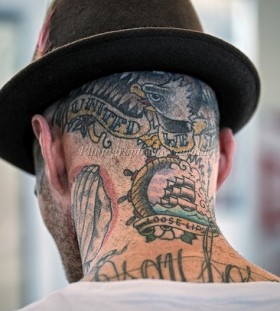 Loose lips tattoo on head