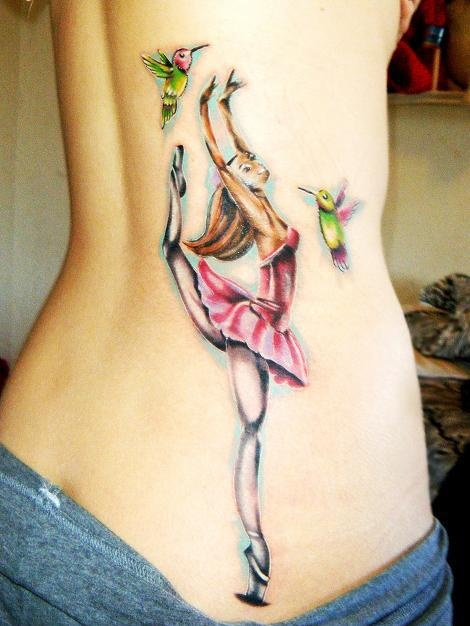 Lovely birds and dancing tattoo