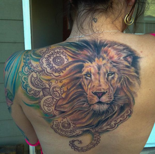 Lovely brown lion tattoo