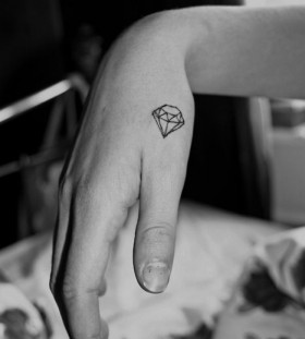 Lovely crystal geometric style tattoo