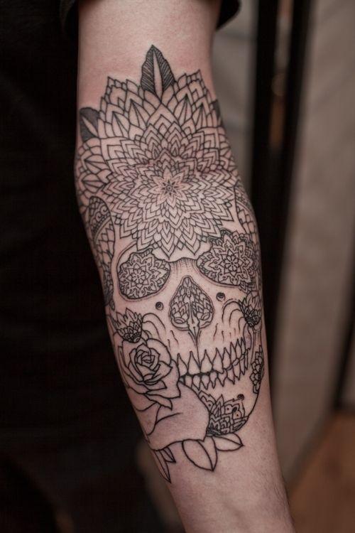 Lovely flower tattoo on men's legs