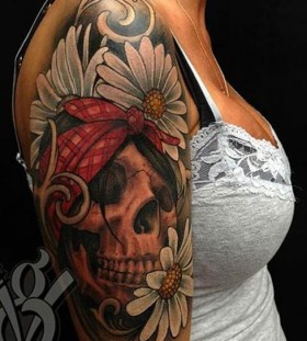 Lovely girl watercolor skull tattoo