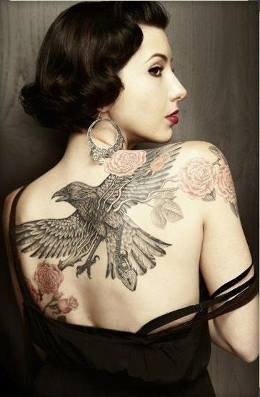 Lovely girl's eagle tattoo