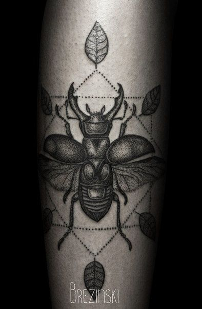 Lovely leaf black insect Ilya Brezinski tattoo