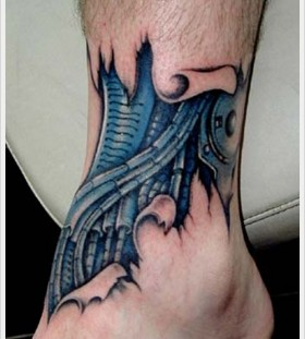 Lovely men's blue men's tattoo