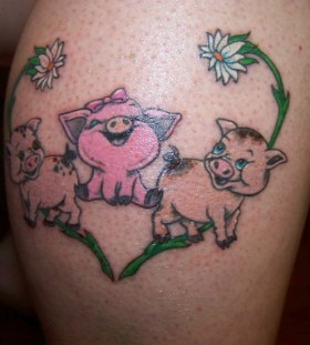 Lovely pig family tattoo