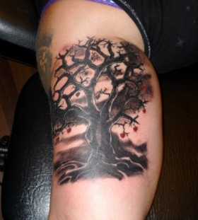 Lovely red hearts and black tree tattoo