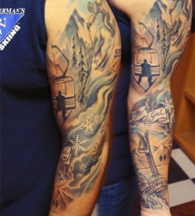 Lovely shoulder skiing tattoo