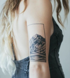 Lovely women's mountain tattoo