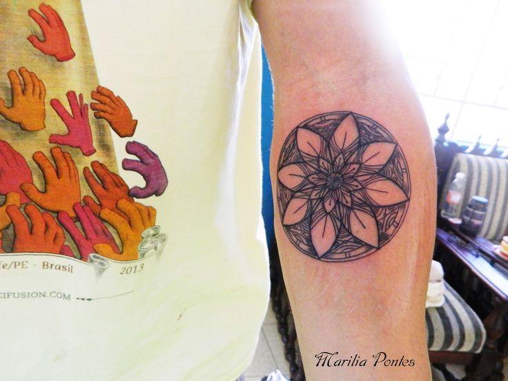 Mandala flower TATTOO BY- Marilia Pontes