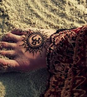 Mandala style sun picture tattoo