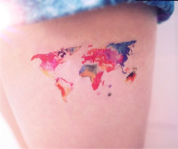 Map world watercolor style temporary tattoo