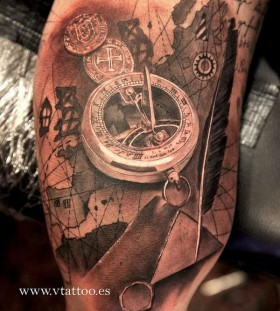 Map's and black compass tattoo