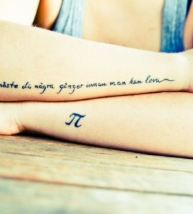 Math style date tattoo on arm